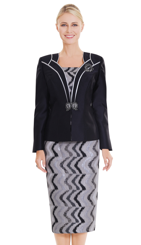 Nina Massini 2550 ( 3pc Novelty And Silk Church Suit With Abstract Pattern )