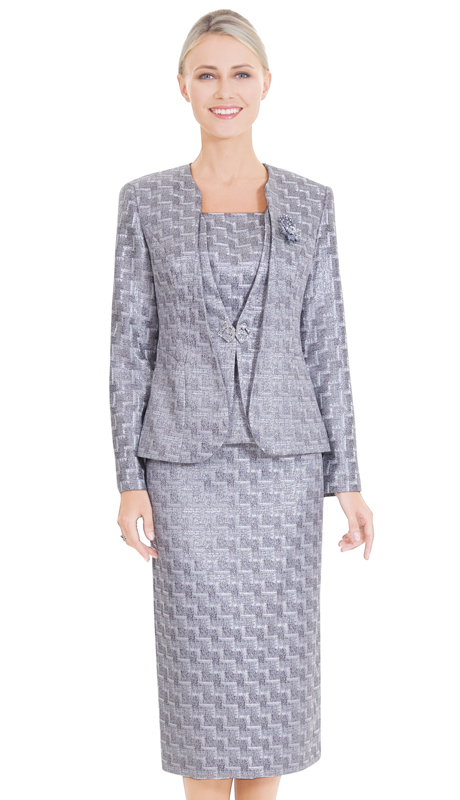 Nina Massini 2576 ( 3pc Novelty First Lady Suit With Layer Jacket And Geometric Pattern )