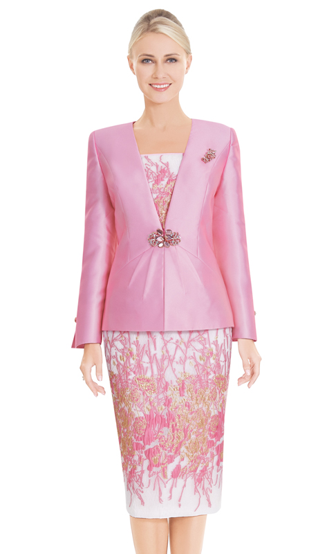 Nina Massini 2582 ( 3pc Novelty And Silk First Lady Suit With Floral Pattern On Cami And Skirt )