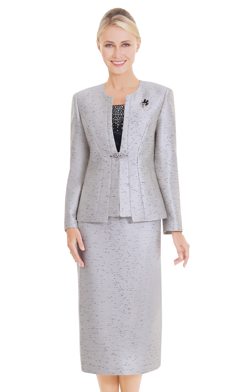 Nina Massini 2575 ( 3pc Novelty Womens Church Suit Elegant Clasp And Brooch )
