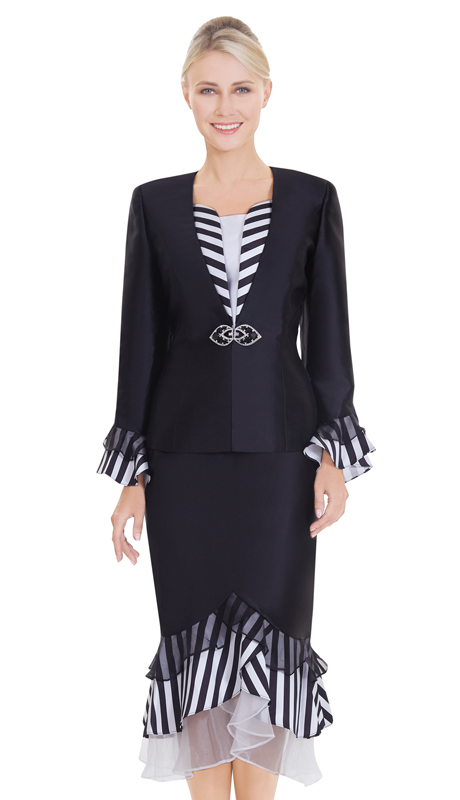 Nina Massini 2561 ( 3pc Silk Ladies Church Suit With Lined Pattern )