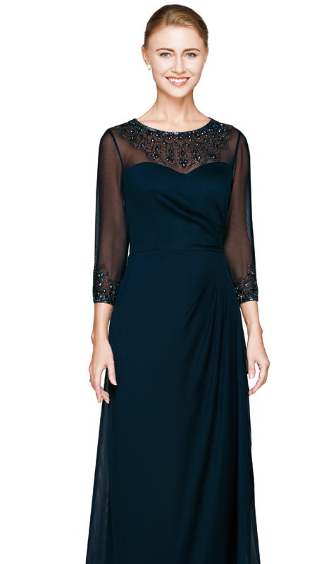 NN2809-NAV ( 1pc Chiffon Dress By Nina Nischelle, With Sweatheart Neckline, Sequin And Glass Bead Design )