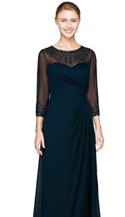 NN2809-NAV ( 1pc Chiffon Dress By Nina Nischelle, With Sweatheart Neckline, Sequin And Glass Bead Design )
