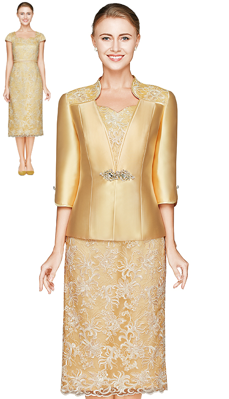 NN2820-LG ( 2pc Lace And Silk Jacket Dress By Nina Nischelle, With Large Glass And Rhinestone Brooch Clasp And Floral Pattern Dress )