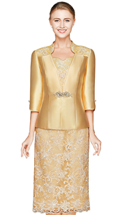 NN2820-LG ( 2pc Lace And Slik Jacket Dress By Nina Nischelle, With Large Glass And Rhinestone Brooch Clasp And Floral Pattern Dress )