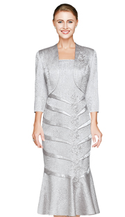 NN2822-SIL ( 2pc Crinkled Satin Ladies Jacket Dress By Nina Nischelle, With Cascading Flower Applique And Bolero )