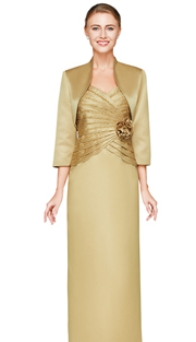 NN3503-GO ( 2pc Womens Jacket And Dress By Nina Nischelle, With Layered Bodice, Beaded Embellishment And Bolero Jacket )