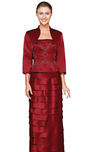 NN9505-BUR ( 3pc Ladies Jacket And Dress By Nina Nischelle, With Floral Embroidery, Rhinestone And Beaded Detail Bodice And Bolero Jacket )