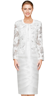 NN2821-IV ( 2pc Lace And Silk Look  Ladies Jacket And Dress By Nina Nischelle, With Sequin And Gathered Ribbon Detail )