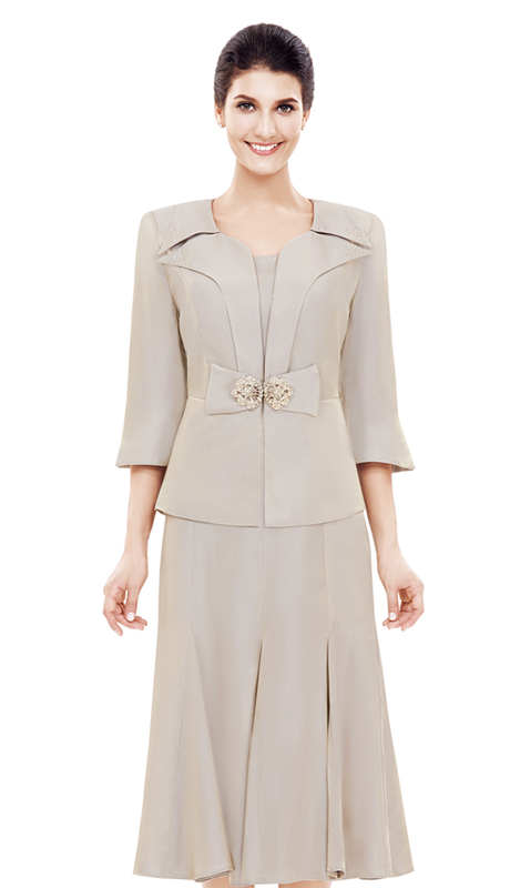 NN2829 (  ( 2 pc Jacket Dress By Nina Nischelle, With Large Glass And Rhinestone Brooch Clasp For The First Lady )