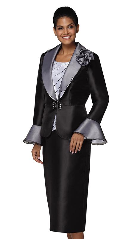 Nina Massini 3041-BW ( 3pc Silk Sunday Suit )