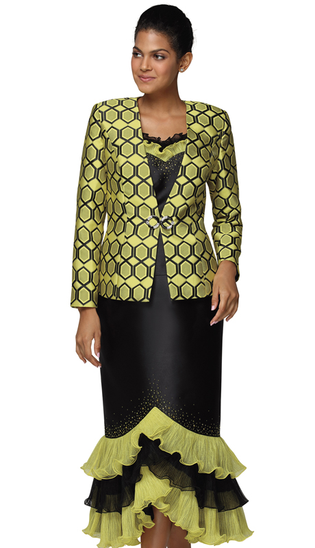 Nina Massini 3039-YB ( 3pc Silk First Ladies Suit )