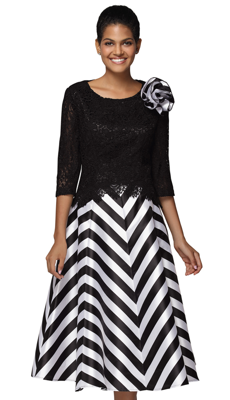 Nina Nischelle 2924-BW ( 2pc Lace And Silk First Lady Dress )