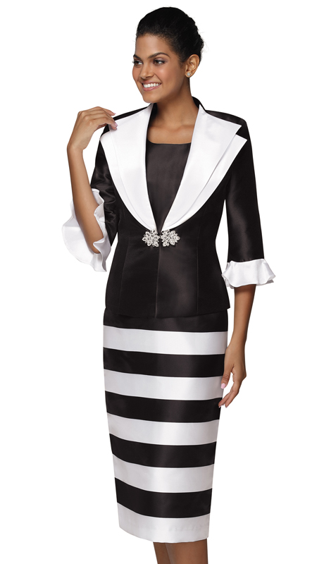 Nina Nischelle 2920-BW ( 2pc Silk Womans Church Dress And Jacket )