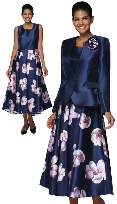 Nina Nischelle 2930-NP ( 2pc Silk Womans Sunday Dress And Jacket )