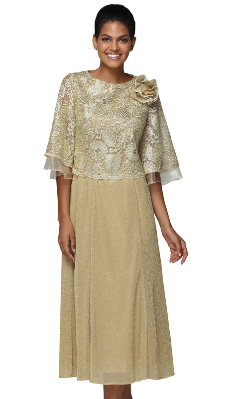 Nina Nischelle 2937-GO ( 1pc Lace Ladies Church Dress )