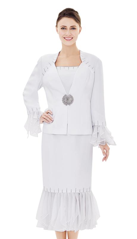 Nina Massini 2506-WH ( 3pc PeachSkin Suit For Church )
