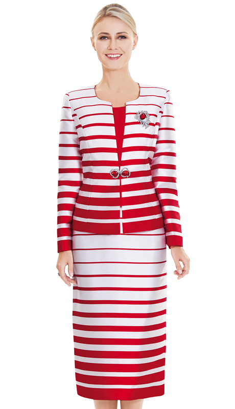 Nina Massini 2394-RW ( 3pc Silk Ladies Church Suit )