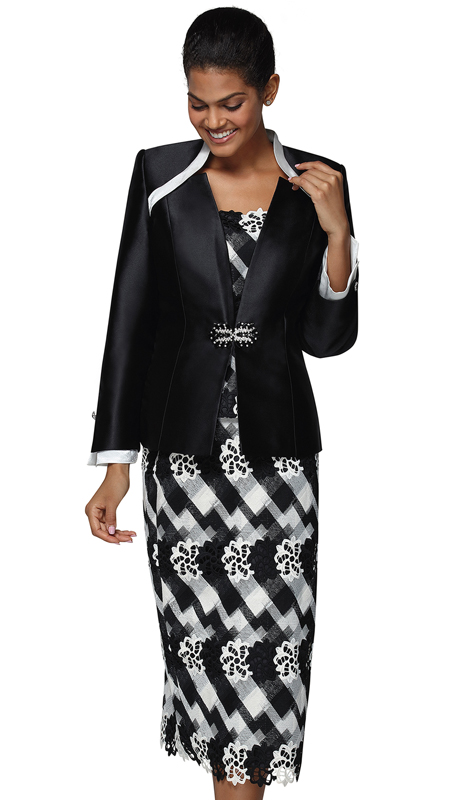 Nina Massini 3038-BW ( 3pc Silk First Lady Suit )