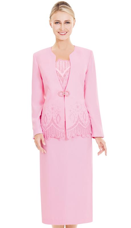 Nina Massini 2523-PI ( 3pc PeachSkin Ladies Church Suit )