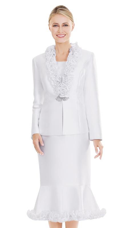 Nina Massini 2505-WH ( 3pc Silk Ladies Church Suit )
