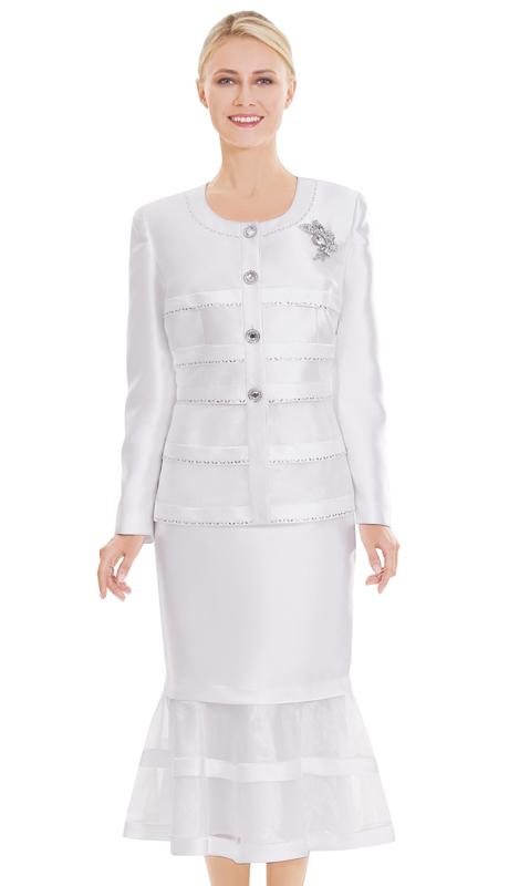 Nina Massini 2510-OW ( 3pc Silk Ladies Church Suit )