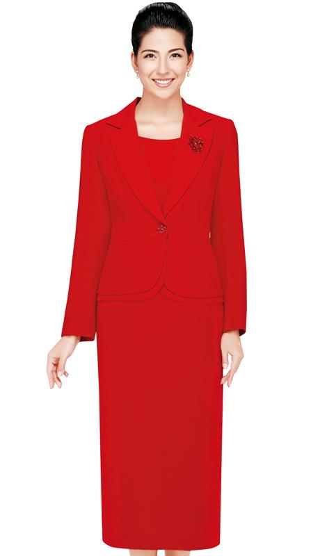 Nina Massini 2429-RE ( 3pc PeachSkin First Ladies Suit )