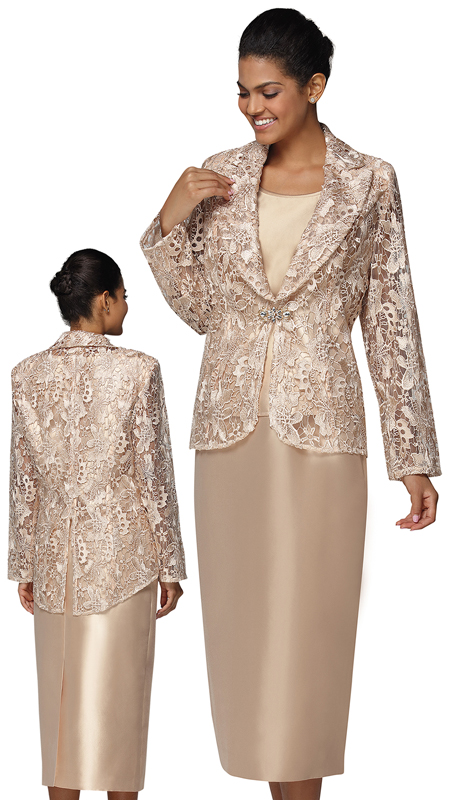 Nina Massini 3022 ( 3pc Lace And Silk Suit For Church )