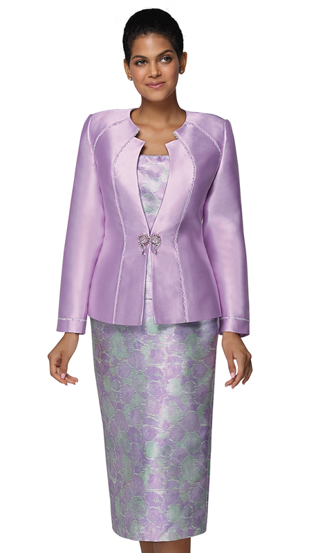 Nina Massini 3026-LI ( 3pc Silk Church Suit )
