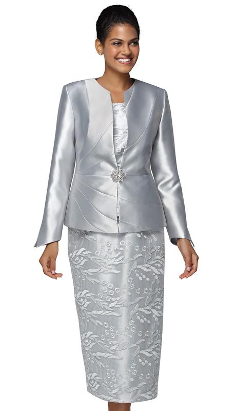 Nina Massini 3031-SI ( 3pc Lace And Silk Church Suit )