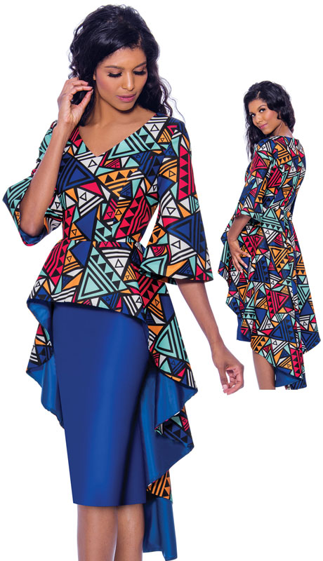 Nubiano 2531 ( 2pc Silk Look Dress For Church Dress With Bell Sleeves And Cascading Multi Colored Top )