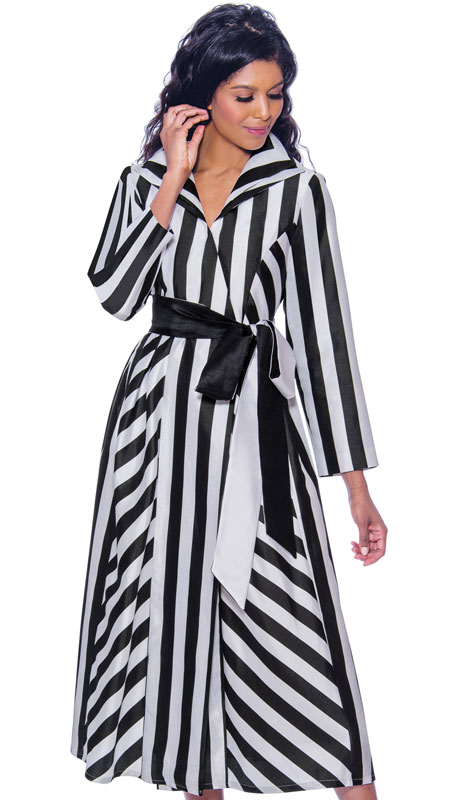 Nubiano 2561 ( 1pc Silk Look Womens Dress For Church With Striped Design And Sash )