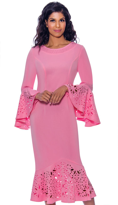 Nubiano 2761-IH ( 1pc Ponte Knit Womens Church Dress With Rhinestone Trim, Laser Cut Details, And Flared Sleeves )