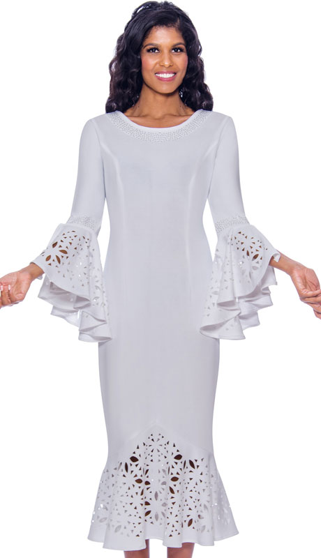 Nubiano 2761-WH-IH ( 1pc Ponte Knit Womens Church Dress With Rhinestone Trim, Laser Cut Details, And Flared )