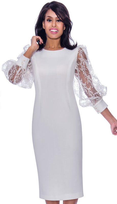 Nubiano 2471 ( 1pc Ponte Knit Womens Church Dress With Sheer Organza Lace Sleeves )