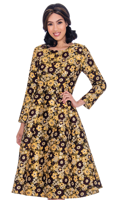 Nubiano 2621-CO ( 1pc Silk Look Womens Sunday Dress In Floral Print )