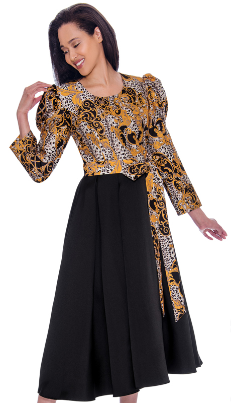 Nubiano 2821-CO ( 1pc Silk Look Womens Church Dress With Unique Pattern Top And Sash Tie Belt And Puffed Shoulders )
