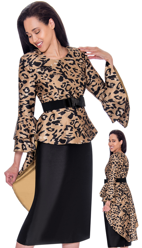Nubiano 2831-IH ( 2pc Silk Look Womens Church Dress With Leopard Print Top Bow Tie Belt And Wide Bell Sleeves )