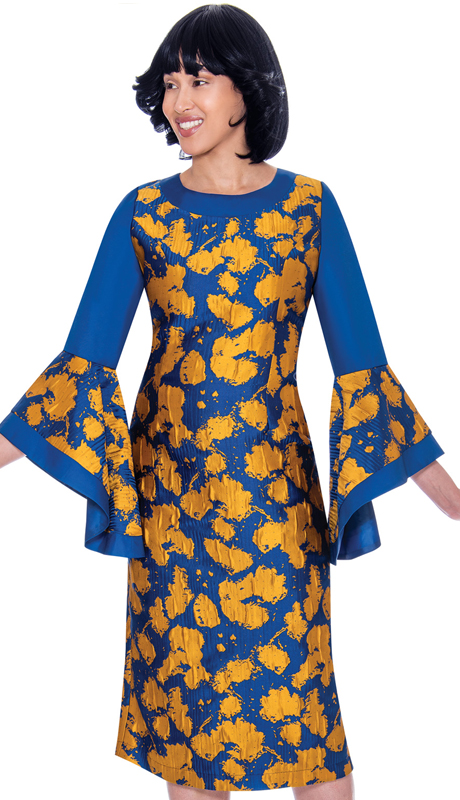 Nubiano 2841 ( 1pc Silk Look Womens Dress For Church With Abstract Design And Flared Sleeves )