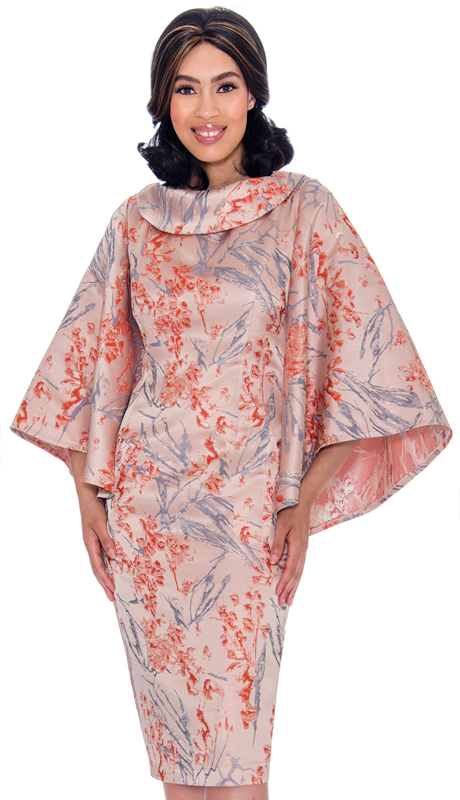 Nubiano 2871 ( 1pc Novelty Womens Church Dress With Floral Print Cowl Neck And Cape Sleeves )