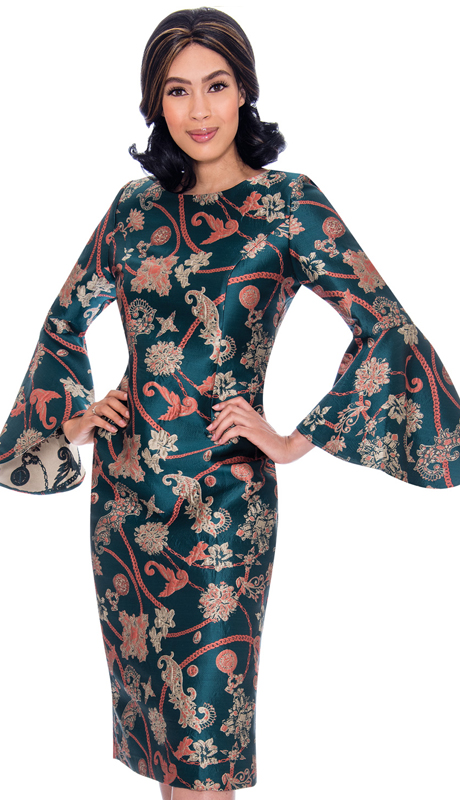 Nubiano 2911-IH ( 1pc Silk Look Dress In Powerful Graphic Print And Wide Bell Sleeves )