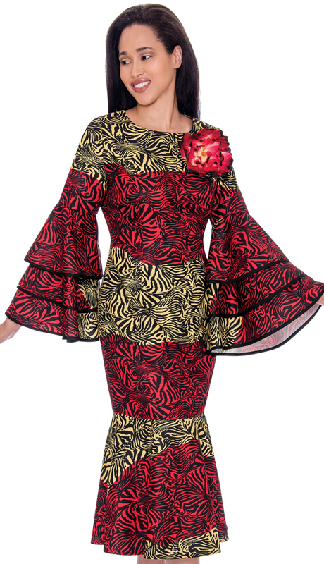 Nubiano 2711-IH ( 1pc Silk Look Womens Dress For Church In Animal Print With Bell Sleeves )
