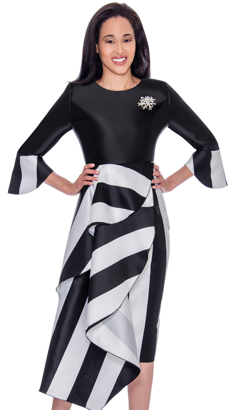 Nubiano 2751-IH ( 1pc Silk Look Womens Dress For Church With Striped Design And Flared Sleeves )