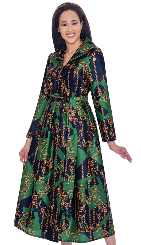 Nubiano 2791-IH ( 1pc Silk Look Womens Church Dress With Unique And Abstract Design )