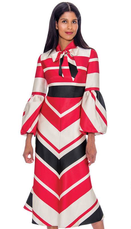 Nubiano 2811-IH ( 1pc Silk Look Dress Striped Design With Sash Tie Neckline And Puffed Sleeves )