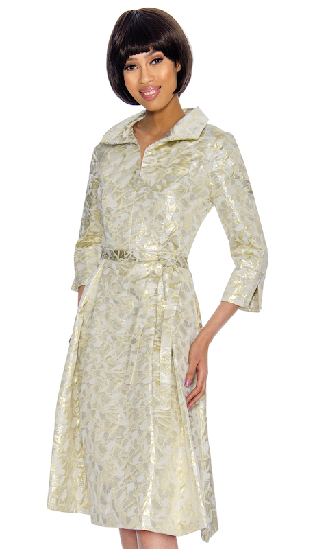 Nubiano 3031 ( 1pc Womens Brocade Church Dress With Delicate Floral Design )