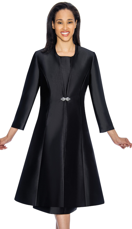 Nubiano 3092-B ( 2pc Ladies Silk Look Jacket Dress For Church With Beautiful Brooch )