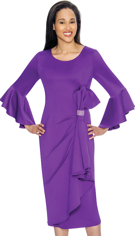 Nubiano 3171 ( 1pc Womens Peachskin Church Dress With Flared Sleeves And Elegant Rhinestone Detail At Waist )