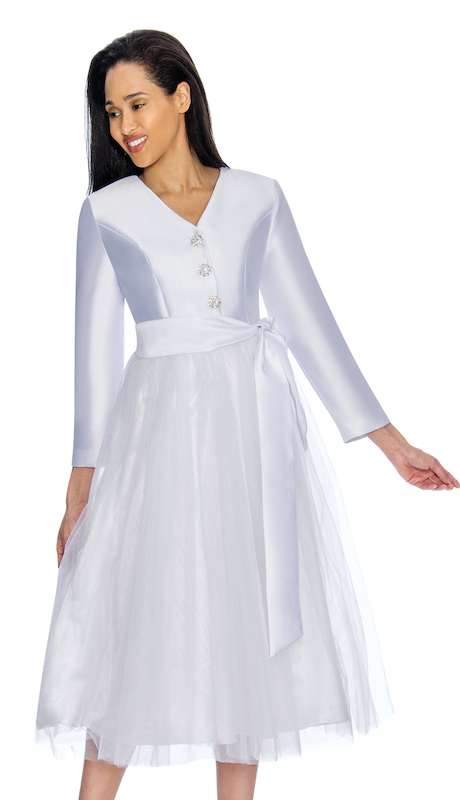 Nubiano 3181 ( 1pc Silk Look With Organza Ladies Dress For Church With Beautiful Rhinestone Buttons And Elegant Sash )