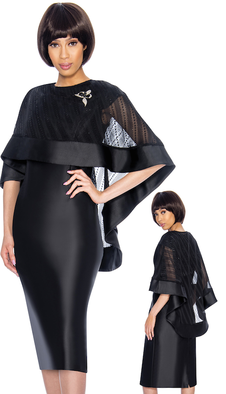 Nubiano 3192 ( 2pc Womens Silk Look With Organza Dress For Church With Intricate Shawl And Beautiful Broach )